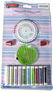 SEWING SET ACCESSORY KIT SET WITH THREADS NEEDLES MEASURING TAPE SCISSORS NEW GBP 2.99