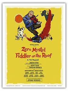 Fiddler on the Roof Zero Mostel Vintage Film Movie Art Poster Print