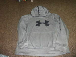 UNDER ARMOUR BOYS YLG LARGE GRAY BLACK HOODIE