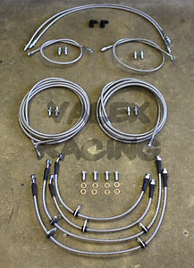 Complete Front & Rear Brake Line Replacement Kit 92-95 Honda Civic wrear disc
