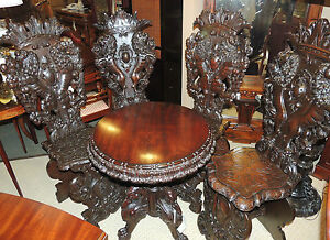 RARE Set of (4) 17th Century Italian Baroque side Chairs ca1600's hand carved