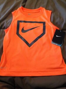 Nike Dri-Fit Bright Orange Baseball Shirttank Top - Toddler Boy Size 4 - NWT