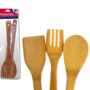 Natural Bamboo Wooden Kitchen Utensils Spatula Spoon amp; Fork Cooking Set ADK TG5