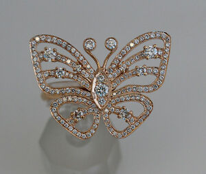 Diamond Butterfly Ring in Rose Gold - Statement  Fashion Ring