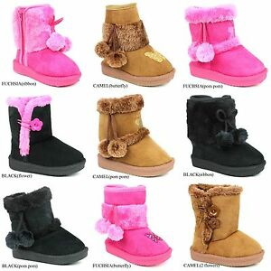 New Infant Toddler Girls Snow Boots Fur Faux Suede Soft Warm Booties Boots