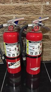 SET OF (2) Nice REFURBISHED 5lb ABC FIRE EXTINGUISHER NEW Bracket