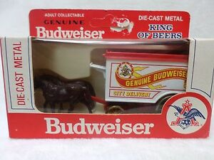 budweiser beer toy horse buggy diecast metal by