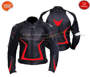 black motorbike leather jacket red lining in pure leather comes with armours