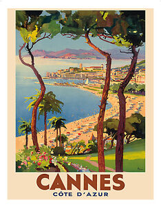 Cannes France French Riviera Vintage World Travel Art Poster Print Giclée