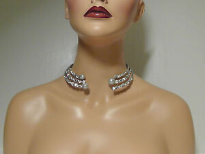 Alexis Bittar Rhodium Plated Pearly Stacked Hinge Collar Necklace*****NEW*****