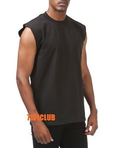 PROCLUB SLEEVELESS T SHIRTS BLACK Mens Heavyweight Plain Muscle LOT 6 PACK M-7XL