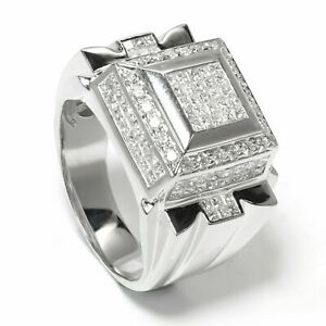 Men's Iced Diamond Cap Ring in 18k White Gold 2.73 Carat Size 10
