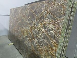 Rainforest Green Polish and Leather 2cm Marble Slabs  Average Sz  55 SqFt