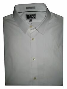 EXPRESS 1MX  FITTED STRETCH COTTON SHIRT S M L XL NWoT NWT White Black Steel