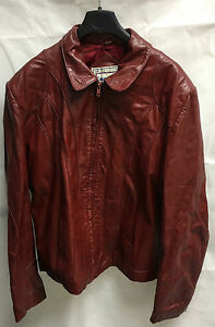 Casablanca For Guys-For Girls Red Leather Jacket. Size 46.