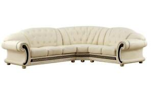 Sectional Ivory Genuine Top Grain Italian Leather Sectional Sofa Right Apolo