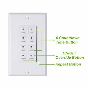 BN LINK Countdown Digital In wall Timer 5 10 20 30 45 60mins White for light $14.99