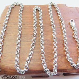 J.Lee Solid Platinum 950 Necklace - Classic 3mm Rolo Link Chain Necklace 20