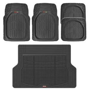Black TransTech All Weather HD Rubber Mats Set - 5pc Car Floor Mat Cargo Liner