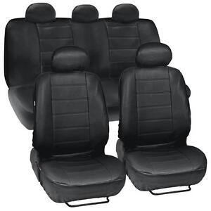 Black Synthetic Leather Set Car Seat Cover Genuine Leather Feel Front