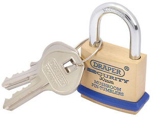 Draper 30mm Solid Brass Padlock and 2 Keys with Mushroom Pin Tumblers Hardened S