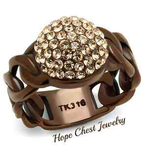 COFFEE TONE STAINLESS STEEL CHAMPAGNE CRYSTAL PAVE FASHION RING SIZE 5 - 10