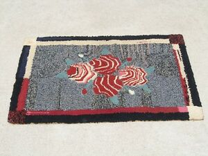 Fantastic Antique American Arts amp; Crafts Period Hooked Rug Abstract Primitive $180.00