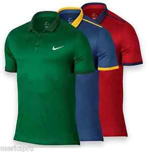 MEN'S NIKE COURT ADVANTAGE COLORDRY TENNIS POLO SHIRT - DRYFIT (Green-Red-Grey)