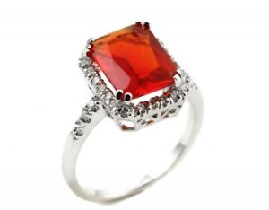 Cocktail Ring 925 Sterling Silver 6.20Ct Radiant Cut Ruby Red Clear Russian CZ