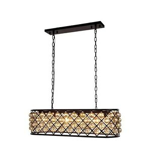 1216 Madison Collection Pendant Lamp L-40In W-13In H-15In Lt-6 Mocha Brown