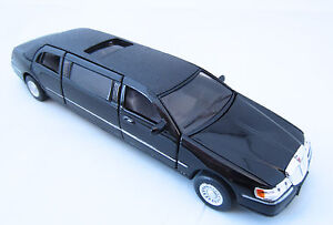 black 1999 lincoln town car stretch limo 1