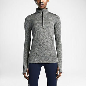 Women's Nike Dri-Fit Knit 12 Zip Sz L Black Heather 659486-010 FREE SHIPPING
