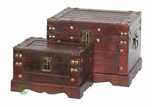 Old Style Wooden Chest in Antique Cherry