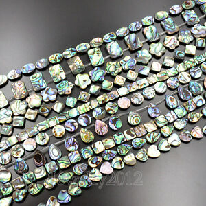 Natural Multi Color Abalone Shell Coin Square Flat Oval Gemstones Beads 7.5