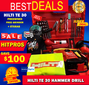 HILTI TE 30 , PREOWNED FAST SHIPPING, Free Grinder Bits Knife Glasses and Mo