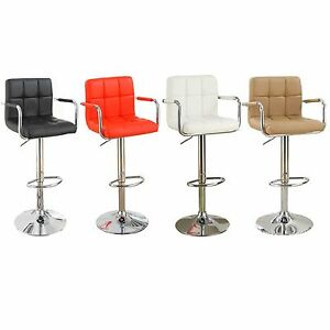 SAdjustable Swivel Chrome Arm Barstools Pub Stool PU Tufted Back Seat-Set of 2