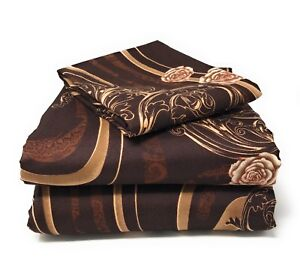 Tache 2-3PC Melted Gold Brown Paisley Floral Rose Pink Swirl Top Flat Sheet Only