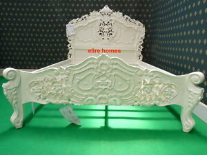 BESPOKE Small Double 4' Ivory French style designer Rococo Bed .... Top Quality