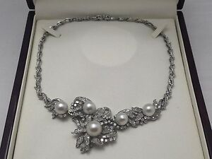 Pre-owned One Of A Kind 14kt white gold diamond & pearl necklace  brooch