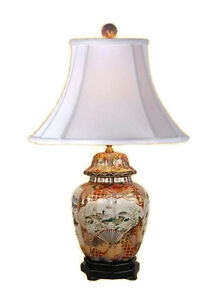 Chinese Porcelain Satsuma Style Scalloped Temple Jar Table Lamp 26
