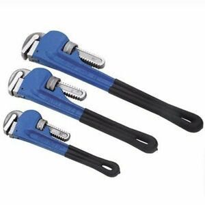 3 Pcs Adjustable Heavy Duty Heat Treated Soft Grip Pipe Wrench Set 10