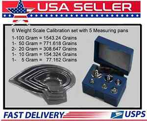 6 WEIGHT RELOADING SCALE CALIBRATION KIT WITH CASE AND 5 PC SET MEASURING PANS
