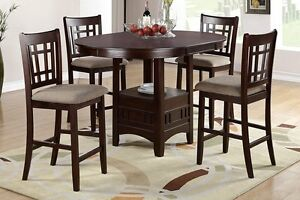 Modern DarkRosyBrown Pub Dining Set 5pcs with LeafRound Table Cushion Seat Chair