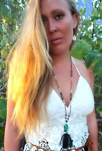 Necklace Pendant Turquoise Agate Semi Precious Tumbled Stone Beads Tassle WOW!!