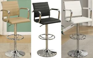 Adjustable Swivel Chrome Arm Barstools Pub Stool PU Tufted Back Seat-Set of 2