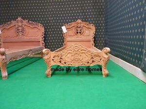 Single Size rustic 3' shabby RAW mahogany designer French style Rococo bed