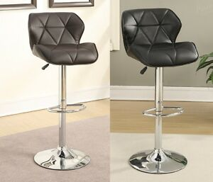 2PC Adjustable Swivel Barstool Bar Pub Stool PU Tufted Saddle Back Seat-2 Colors