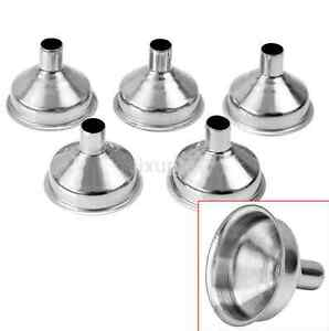 Small Funnel Set 5pcs Mini Stainless Steel Refill Gift Kitchen Spices Liquids US