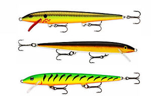 NIB 3 Rapala Original Floating F13FT F13BHO F13G  Trout Pike Perch Salmon Lures