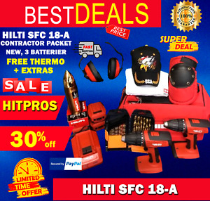 HILTI SFC 18 A ,CONTRACTOR PACKET, NEW, 3 BAT, FREE THERMO, LOT EXTRA, FAST SHIP